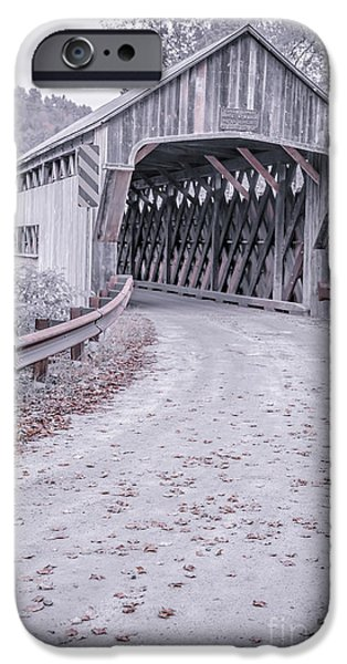 Old Country Roads Photographs iPhone Cases - Vermont Covered Bridge iPhone Case by Edward Fielding