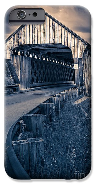 Covered Bridge iPhone Cases - Vermont Covered Bridge in Moonlight iPhone Case by Edward Fielding