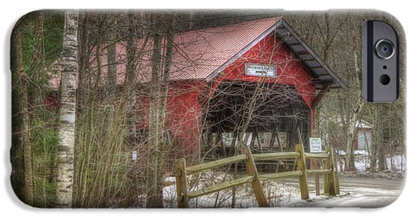 New England Snow Scene iPhone Cases - Vermont Covered Bridge - Stowe Vermont iPhone Case by Joann Vitali
