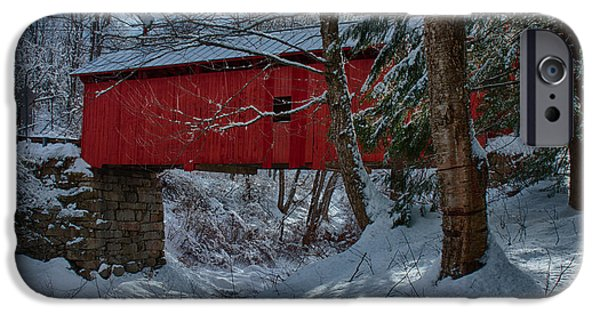 Fall iPhone Cases - Vermont covered bridge winter afternoon iPhone Case by Jeff Folger