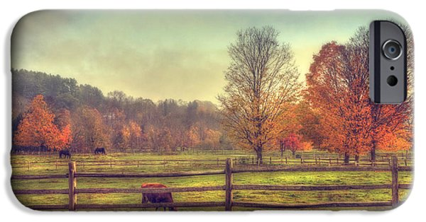 Fall Scenes iPhone Cases - Vermont Farm in Autumn iPhone Case by Joann Vitali