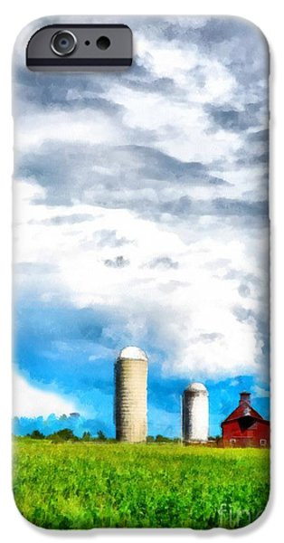 Farming Barns iPhone Cases - Vermont Farm Scape iPhone Case by Edward Fielding