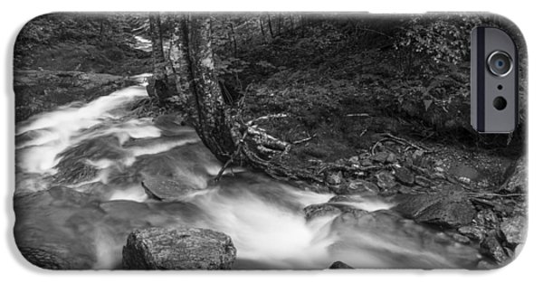 White River Scene Photographs iPhone Cases - Vermont forest foliage black and white waterfall iPhone Case by Andy Gimino