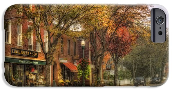 Autumn Scenes iPhone Cases - Vermont General Store in Autumn - Woodstock VT iPhone Case by Joann Vitali