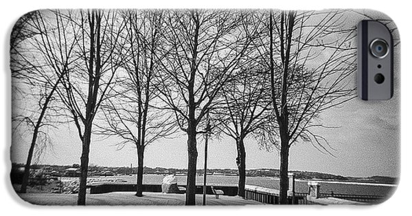 New England Snow Scene iPhone Cases - Vermont Lake Champlain Burlington Spring snow black and white iPhone Case by Andy Gimino