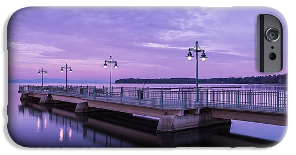 Nature Scene iPhone Cases - Vermont Lake Champlain Sunrise Clouds Fishing Pier iPhone Case by Andy Gimino