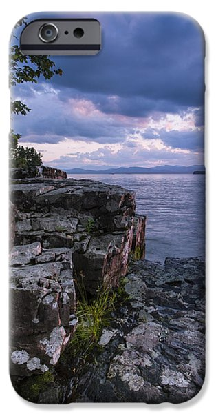 Nature Scene iPhone Cases - Vermont Lake Champlain Sunset clouds shoreline iPhone Case by Andy Gimino
