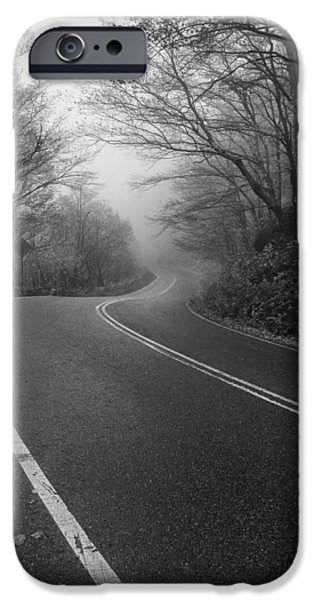 Asphalt iPhone Cases - Vermont scene black and white Road forest fog iPhone Case by Andy Gimino