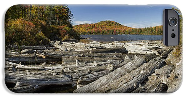 Drama iPhone Cases - Vermont Kettle Pond panorama Autumn Forest iPhone Case by Andy Gimino