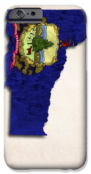 Vermont Map Art with Flag Design iPhone Case by World Art Prints And Designs