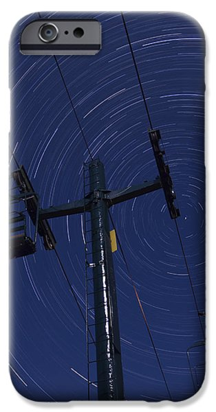 Nature Scene iPhone Cases - Vermont night sky skiing star trails iPhone Case by Andy Gimino
