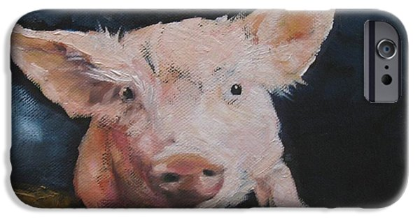 Piglets Paintings iPhone Cases - Vermont Piglet on Fence iPhone Case by Donna Ellery