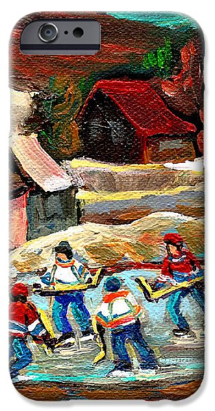 VERMONT POND HOCKEY SCENE iPhone Case by CAROLE SPANDAU