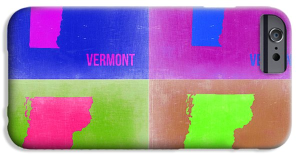 Home iPhone Cases - Vermont Pop Art Map 2 iPhone Case by Naxart Studio