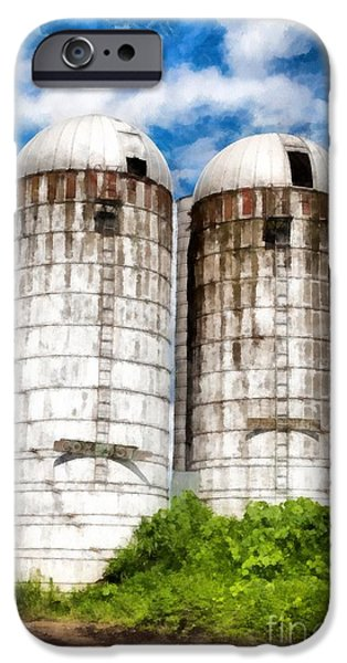 Farm iPhone Cases - Vermont Silos iPhone Case by Edward Fielding