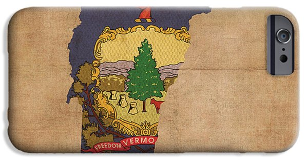 Background Mixed Media iPhone Cases - Vermont State Flag Map Outline With Founding Date On Worn Parchment Background iPhone Case by Design Turnpike