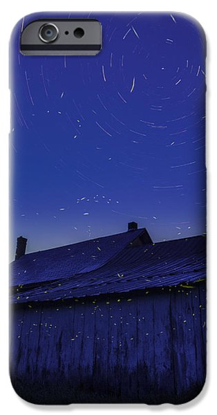 Scenic New England iPhone Cases - Vermont twilight blue hour farmhouse startrails fireflies iPhone Case by Andy Gimino