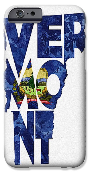 Original Watercolor iPhone Cases - Vermont Typographic Map Flag iPhone Case by Ayse Deniz