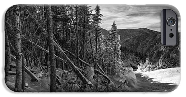 New England Snow Scene iPhone Cases - Vermont Winter Mount Mansfield Mountain forest snow black and white iPhone Case by Andy Gimino