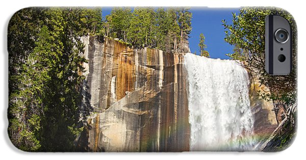 Yosemite National Park iPhone Cases - Vernal falls rainbow iPhone Case by Jane Rix