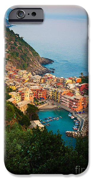 Buildings iPhone Cases - Vernazza from above iPhone Case by Inge Johnsson