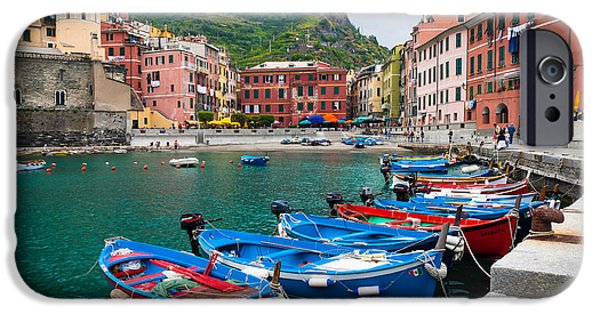 Port Town iPhone Cases - Vernazza Harbor iPhone Case by Inge Johnsson