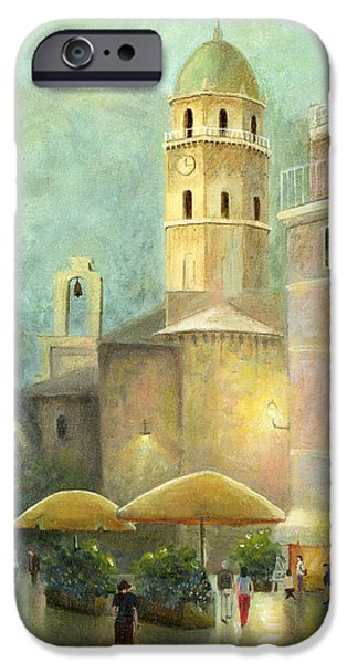 Technical Paintings iPhone Cases - Vernazza Italy iPhone Case by Cecilia  Brendel