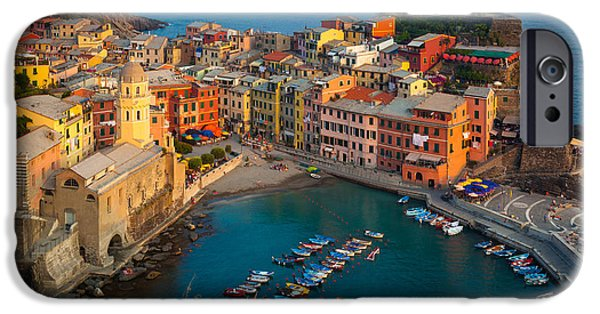 Ocean Sunset iPhone Cases - Vernazza Pomeriggio iPhone Case by Inge Johnsson