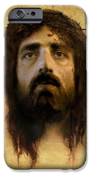 Jesus Face iPhone Cases - Veronicas Veil iPhone Case by Ray Downing