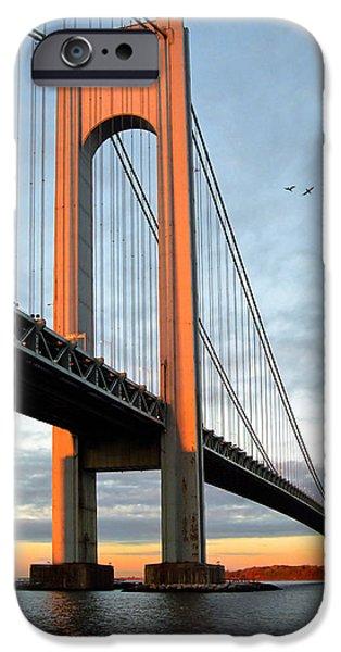Gary Heller iPhone Cases - Verrazano Bridge at Sunrise - Verrazano Narrows iPhone Case by Gary Heller