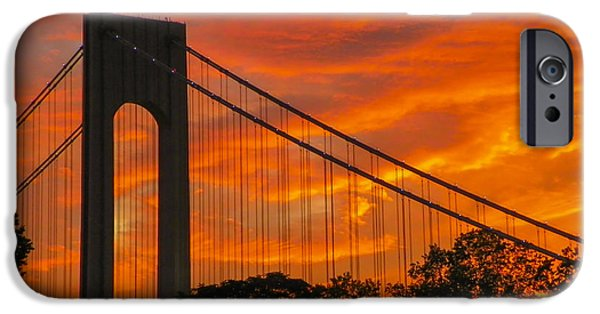 Fourth Of July iPhone Cases - Verrazano Sunset iPhone Case by Jon Woodhams