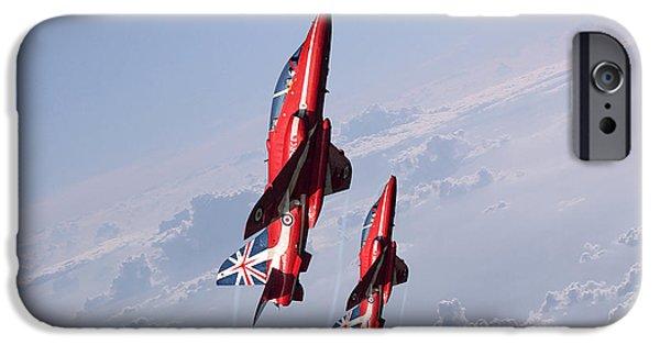 Red Tail Hawk Digital Art iPhone Cases - Vertical Arrows iPhone Case by J Biggadike