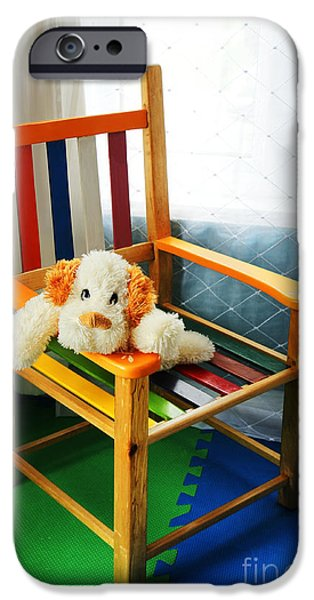 Missing Child iPhone Cases - Vertical of dog in kid chair. iPhone Case by Sylvie Bouchard