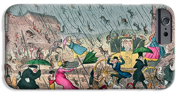 Inside-outside iPhone Cases - Very Unpleasant Weather iPhone Case by George Cruikshank
