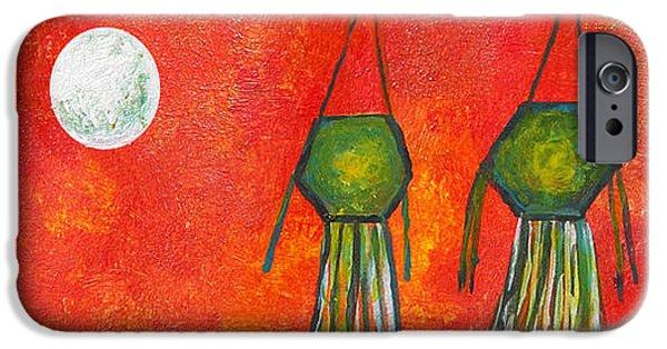 Buddhism Drawings iPhone Cases - Vesak Lanterns iPhone Case by Nirdesha Munasinghe