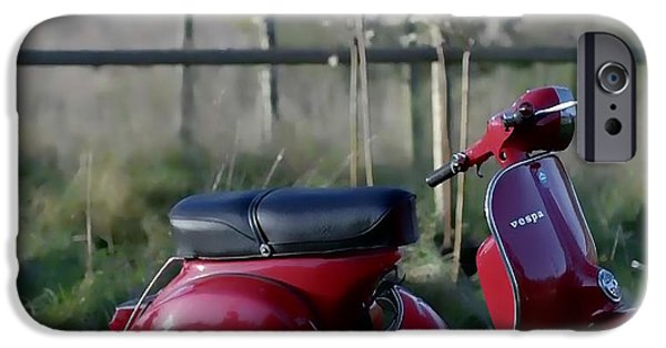 Scoot iPhone Cases - VESPA - Red Dream iPhone Case by Nenad  Cerovic