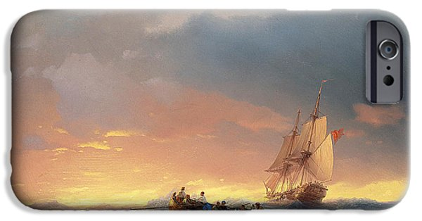 Water Vessels Paintings iPhone Cases - Vessels in a swell at sunset iPhone Case by Ivan Konstantinovich Aivazovsky
