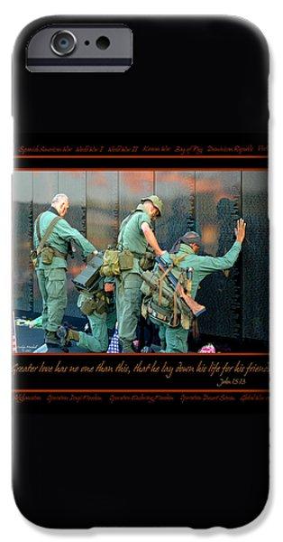 Veterans at Vietnam Wall iPhone Case by Carolyn Marshall