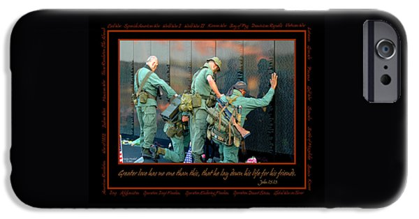 Patriotism iPhone Cases - Veterans at Vietnam Wall iPhone Case by Carolyn Marshall