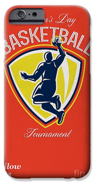 Baller iPhone Cases - Veterans Day Basketball Tournament Poster iPhone Case by Aloysius Patrimonio