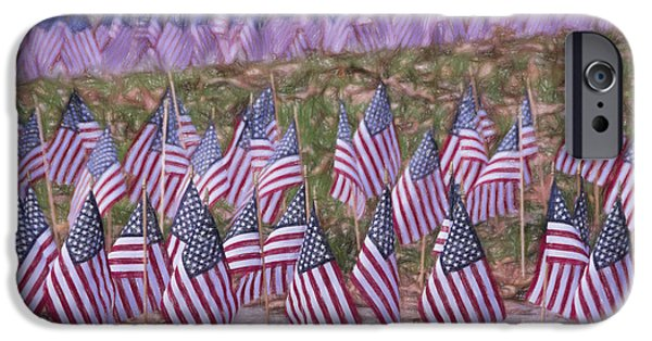 Patriotism iPhone Cases - Veterans Day Display Color iPhone Case by Joan Carroll