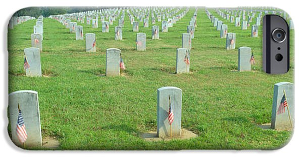 Headstone iPhone Cases - Veterans National Cemetery On Veterans iPhone Case by Panoramic Images