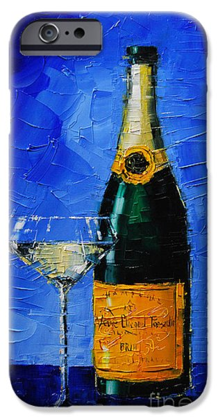 Glass Table Reflection iPhone Cases - Veuve Clicquot iPhone Case by Mona Edulesco