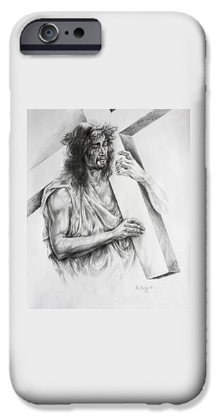Jesus Drawings iPhone Cases - Via Dolorosa iPhone Case by Derrick Higgins