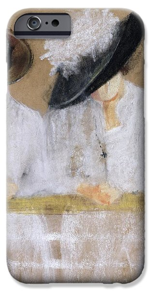 Feathered Hat iPhone Cases - Viaggio Per Mare, 2004 Pastel And Collage On Paper iPhone Case by Susan Adams