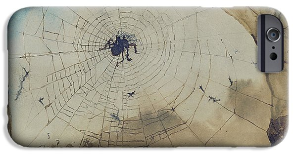 Abstract Expressionist Drawings iPhone Cases - Vianden through a Spiders Web iPhone Case by Victor Hugo
