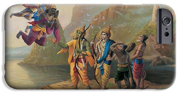 Epic iPhone Cases - Vibhishan meeting Ram and Lakshman iPhone Case by Vrindavan Das