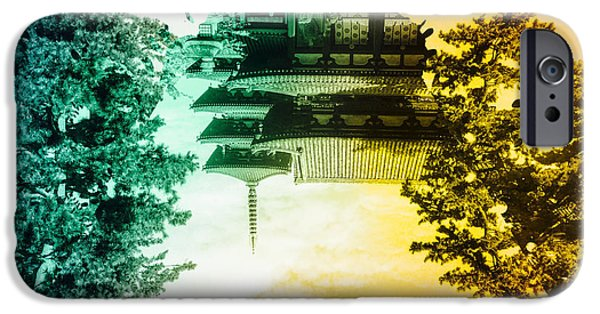 Horyu-ji iPhone Cases - Vibrant Ancient Temple and Pagoda iPhone Case by Beverly Claire Kaiya