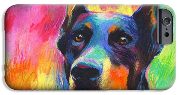 Blue Pastels iPhone Cases - Vibrant Doberman Pincher dog painting iPhone Case by Svetlana Novikova