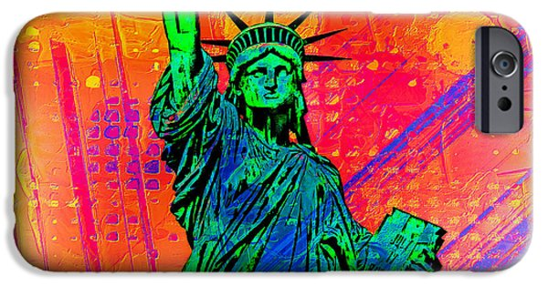 New York City Digital Art iPhone Cases - Vibrant Liberty iPhone Case by Az Jackson